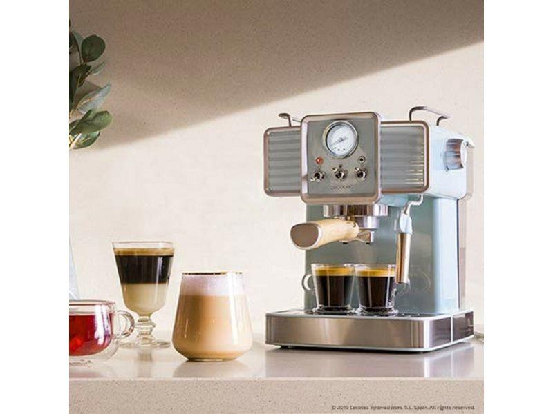 Machine à café express vintage de 1,5l pour café expresso et cappuccino 1350w gris blanc