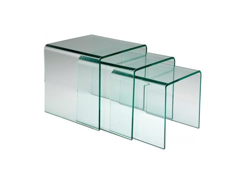 Lot de 3 tables gigogne euphoria en verre 20100839772 vente de table basse conforama - Table salon verre conforama ...