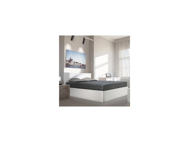 Lit coffre madrid 140x190 1 sommier blanc vente de lit adulte conforama - Coffre chambre ...