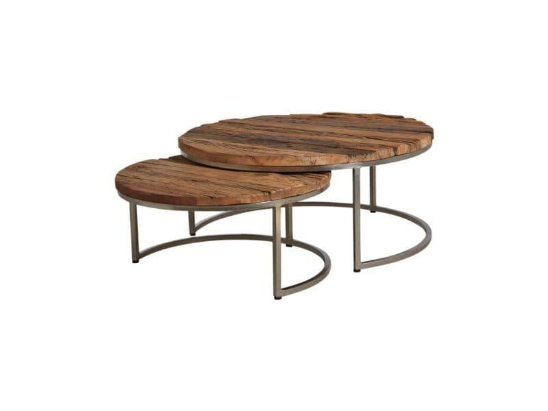 Tables gigognes en bois massif et acier (lot de 2)