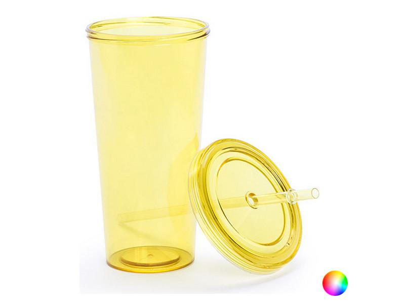 Tasses et thermos stylé couleur jaune verre avec paille (750 ml) 144874