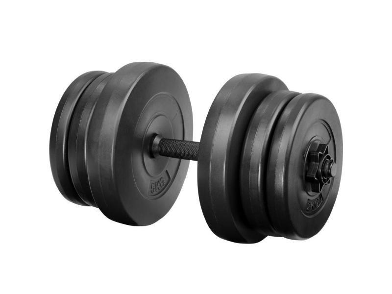 1 haltère court et poids haltère de musculation 20 kg helloshop26 0708036