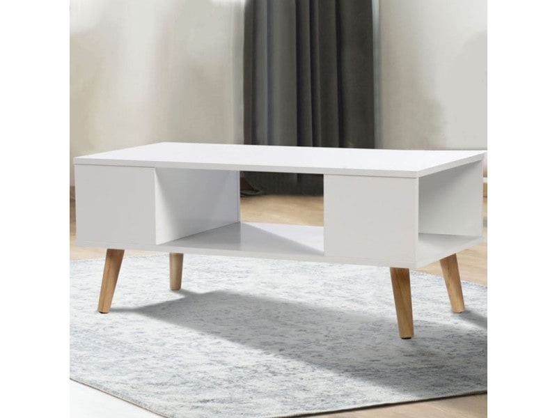 table basse effie scandinave bois blanc vente de id market conforama. Black Bedroom Furniture Sets. Home Design Ideas