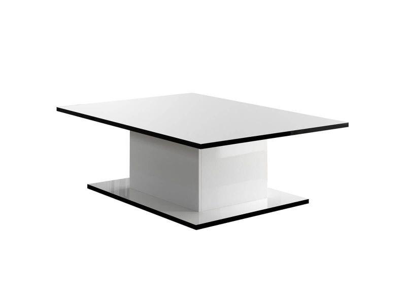 Columbus / alyssa - table basse rectangulaire laquée brillant blanc