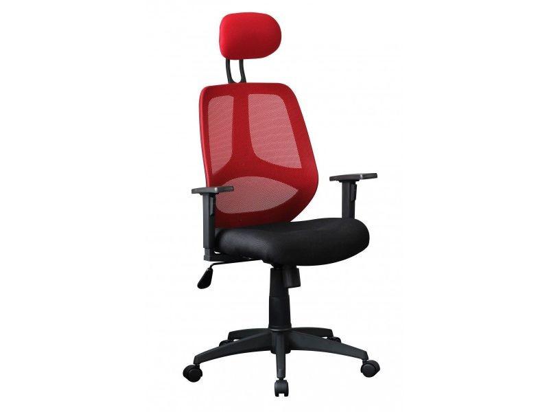 Chaise de bureau réglable en hauteur en tissu coloris noir et