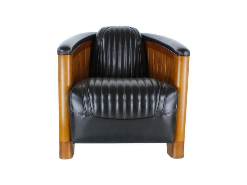 Fauteuil club cuir noir - amiral - couleur noir
