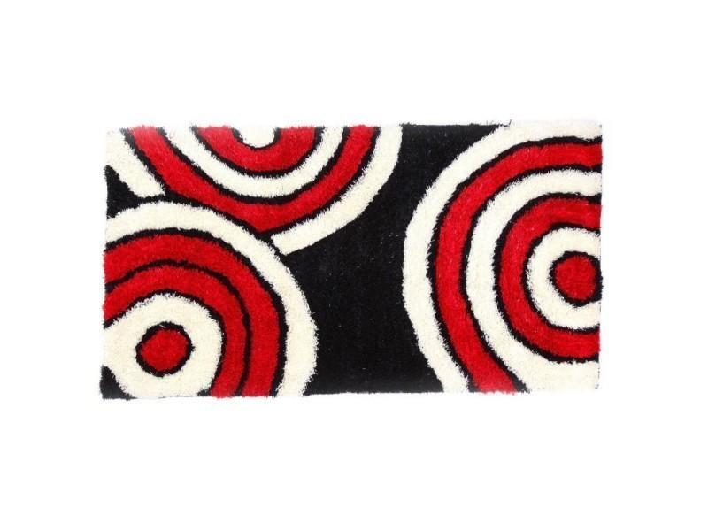 Tapis Shaggy Rouge Noir Et Blanc 160x230 Cm Tap06012 Vente De