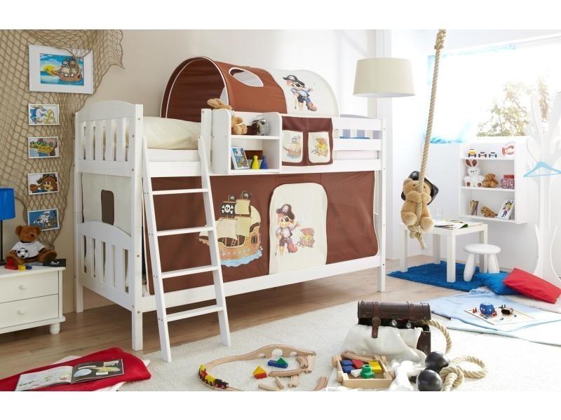 f1e3f5aaa004fb Lit superposé - lit mezzanine - lit enfant - lit cabane et tunnel -  rangements - bois massif vernis blanc - tissus pirate marron et beige - Vente  de ...