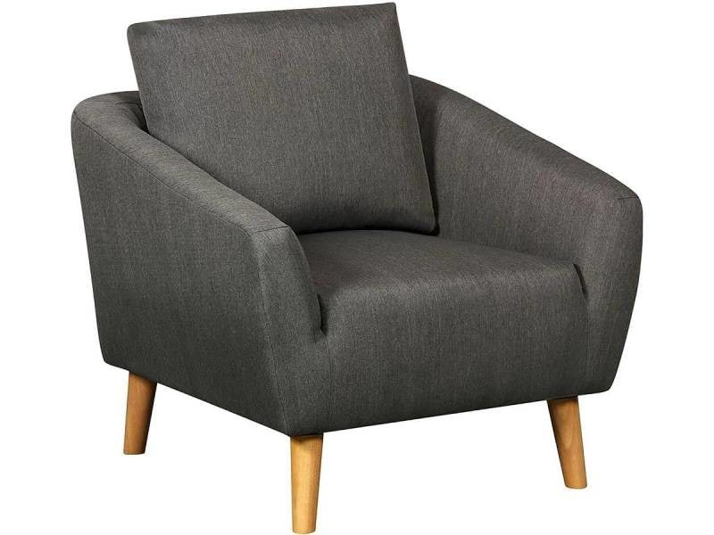 Fauteuil tissu timmy - gris fonce