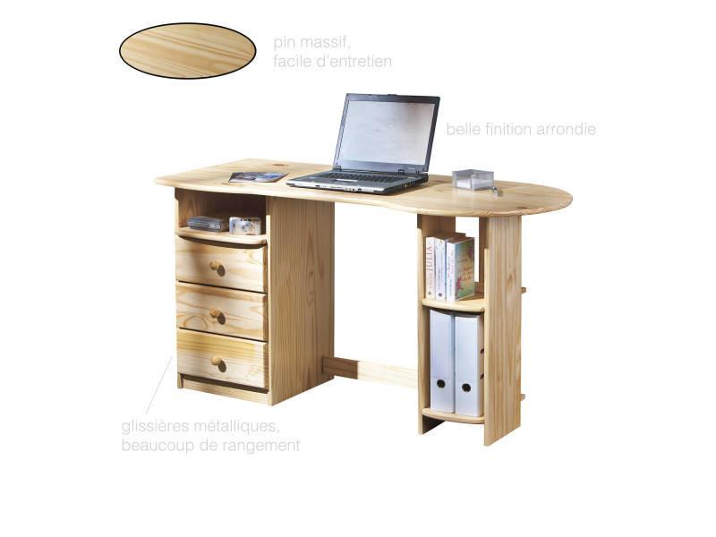 Bureau meuble informatique pin massif vernis naturel 3 trioirs