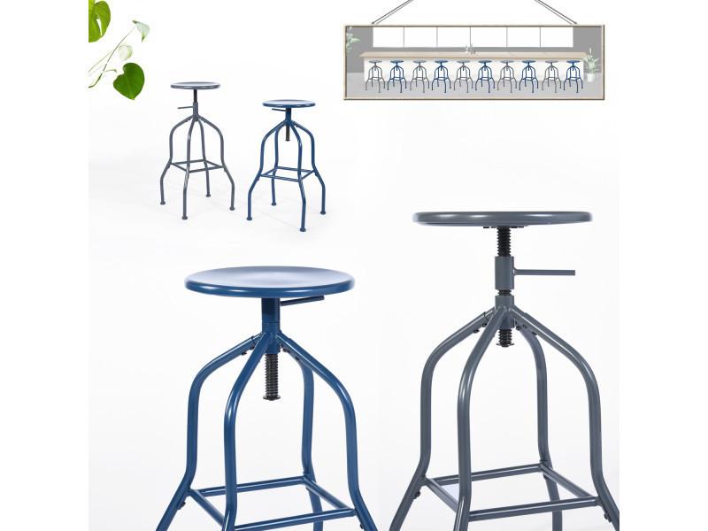 Lot De 2 Tabourets A Vis Metal Bleu Vente De Urban Meuble Conforama