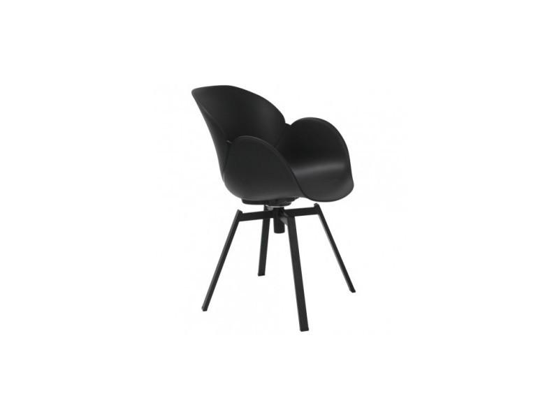 Lot de 4 fauteuils design noir et métal cocoon