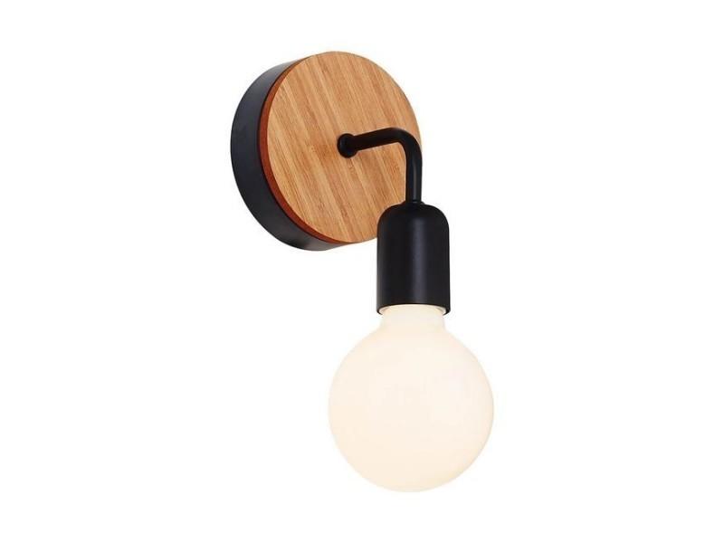 Applique en bois métal noir chêne luminaire design pour séjour