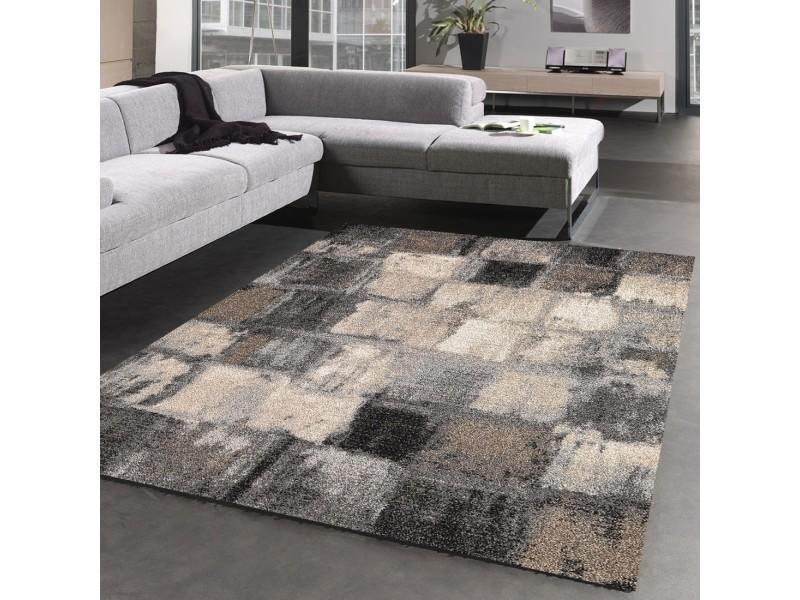 Tapis salon moderne et design carreaulegant 01, gris, beige ...