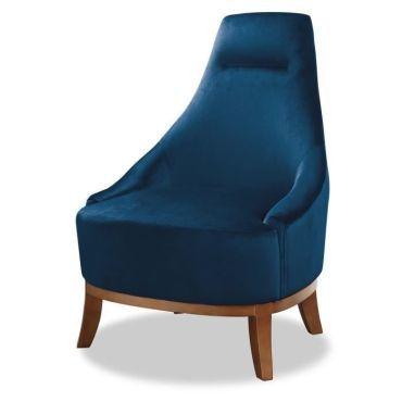 Joseph fauteuil pieds bois velours bleu l 64 x p 71 x h 93