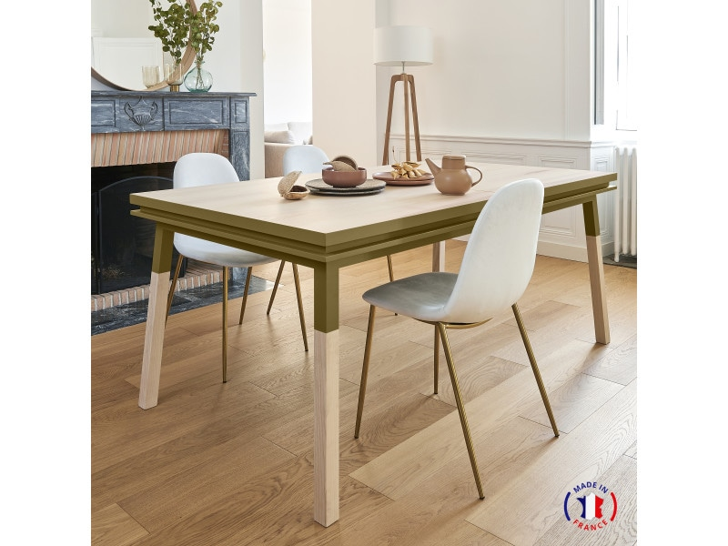 Table extensible bois massif 180x100 cm tabac de ruca - 100% fabrication française
