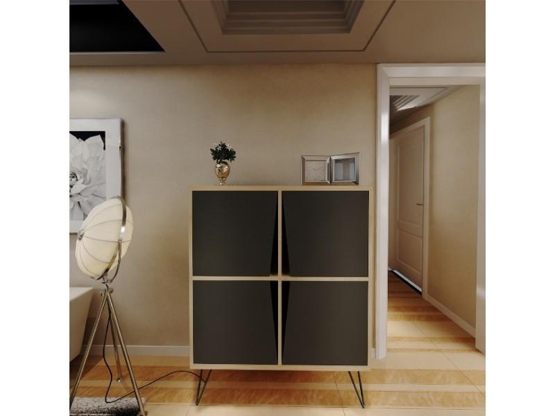 Homemania mobile polyvalent momentum - avec portes, étagères - du salon, de l'entrée - chêne, anthracite en bois, 90 x 30 x 110 cm