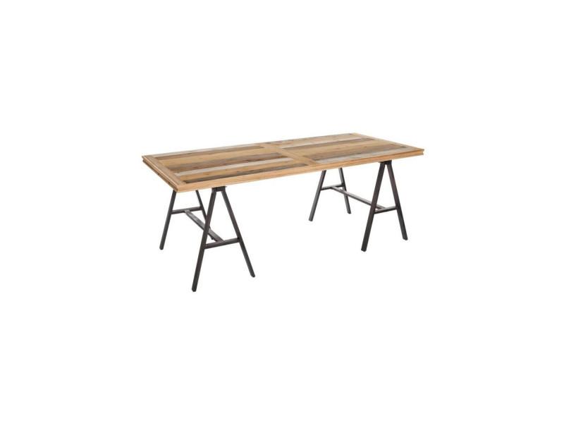 Table de repas métal/bois - brutus - l 195 x l 90 x h 75 - neuf