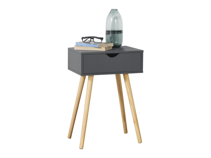 Table basse pour salon meuble design avec tiroir capacité de charge 5 kg panneau de partiules bois revêtu pvc 60 x 40 x 30 cm gris foncé [en.casa]