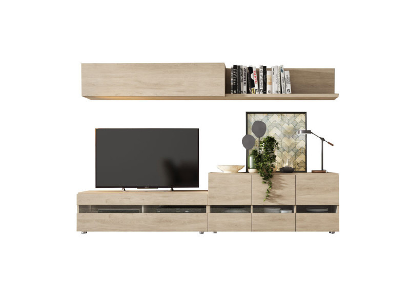 Composition meuble tv bois clair - camelia - l 270 x l 45 x h 180 - neuf