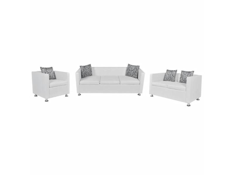 Vidaxl jeu de canapé à 2 places et à 3 places et fauteuil blanc 272181