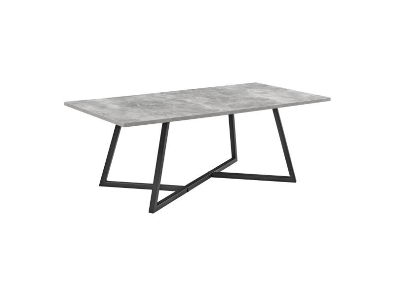 Table basse rectangulaire design pour salon table avec pieds solides en acier plateau en mdf 120 x 60 x 45 cm noir effet béton [en.casa]