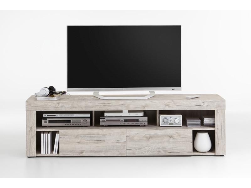 Meuble tv de 2 tiroirs et 6 niches coloris chêne sable - dim : l180 x h53 x p41 cm -pegane-