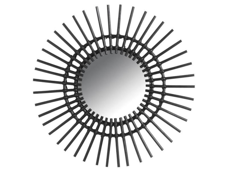 Miroir d co vintage rotin noir vente de aubry gaspard for Miroir rotin noir