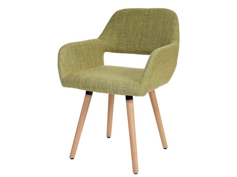 Chaise de salle à manger altena ii, fauteuil, design rétro des années 50 ~ tissu, vert clair