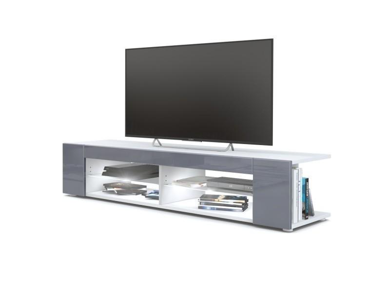 Meuble tv blanc mat façades en gris laquées led blanc
