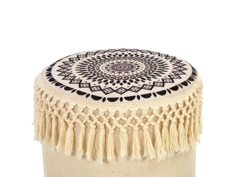 Vidaxl tabouret blanc et noir tissu 247396