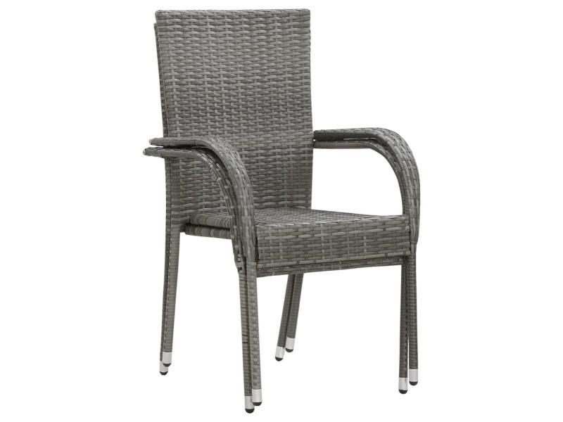 Vidaxl chaises empilables d'extérieur 2 pcs gris résine tressée 46464
