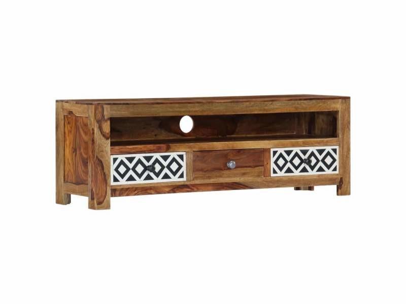 Meuble télé buffet tv télévision design pratique 120 cm bois de sesham solide helloshop26 2502059