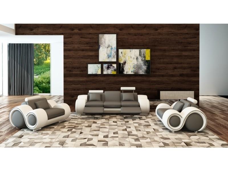 Ensemble canapé cuir relax oslo 3+1+1 places gris et blanc design-