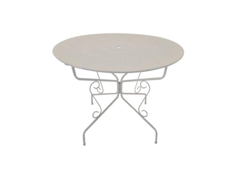 Chaise de jardin - fauteuil de jardin - tabouret de jardin table de jardin romantique en fer forgé avec trou central pour parasol - 95 cm - blanc