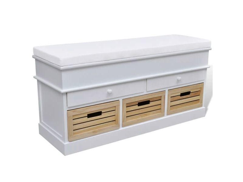 Icaverne - bancs coffres gamme banc de rangement avec 3 cagettes et 2 tiroirs, coussin inclus