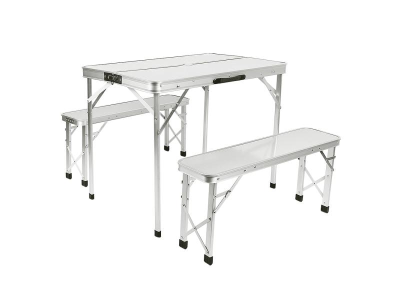 Hombuy®table de camping 2 bancs pliants blanc aluminium mdf poignée transport 90x60x70cm