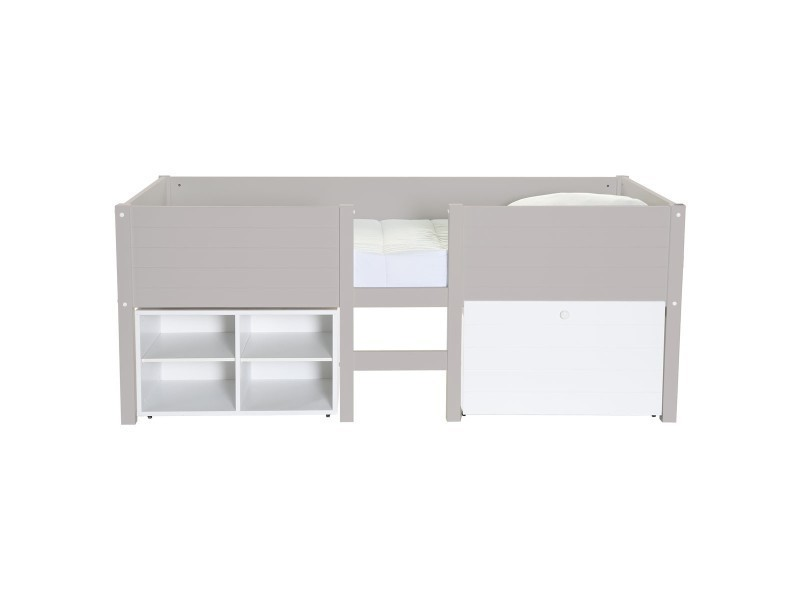 lit mi hauteur enfant taupe choco avec rangement lit sureleve school caisson choco conforama. Black Bedroom Furniture Sets. Home Design Ideas
