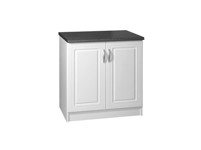 Meuble de cuisine bas 2 portes 80 cm dina mélaminé avec 1 étagère blanc