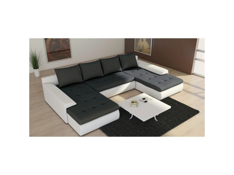canap panoramique convertible joyu noir et blanc tendencio vente de sans marque conforama. Black Bedroom Furniture Sets. Home Design Ideas