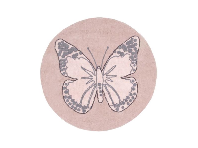 Tapis Rond Pour Chambre De Fille Rose Réversible Butterfly Lorena
