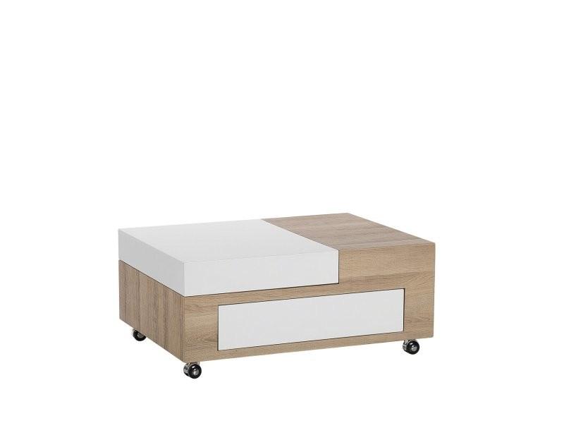 Table basse blanc et bois de chêne luke 118976