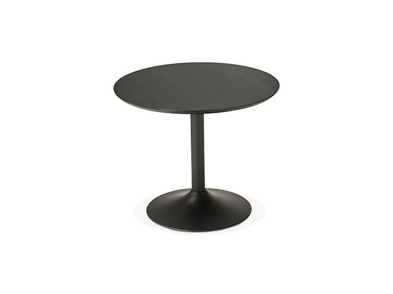 Table à manger ronde 90 cm en bois et métal noir - franklin