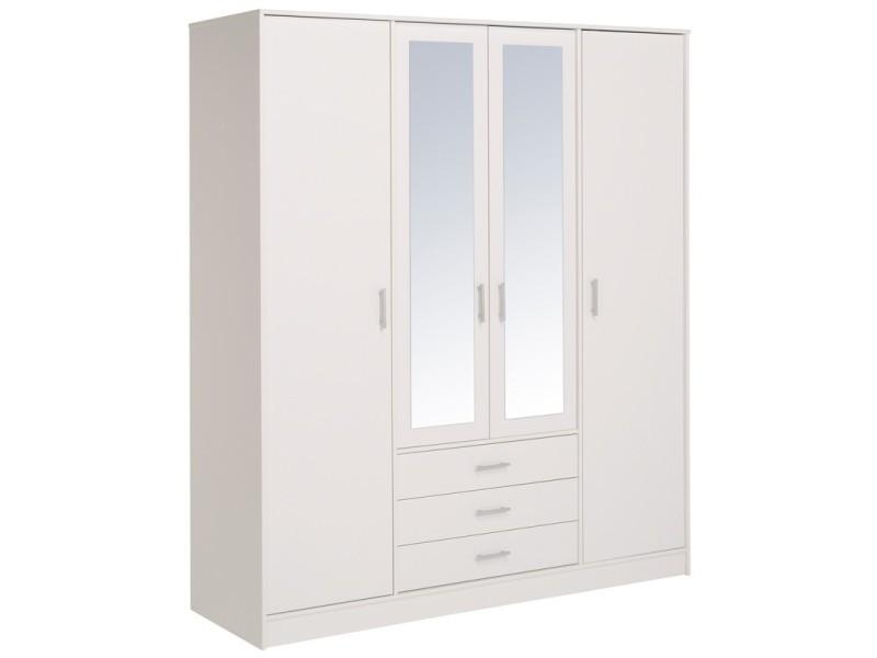 armoire 4 portes 3 tiroirs blanc nity l 175 x l 55 x h. Black Bedroom Furniture Sets. Home Design Ideas