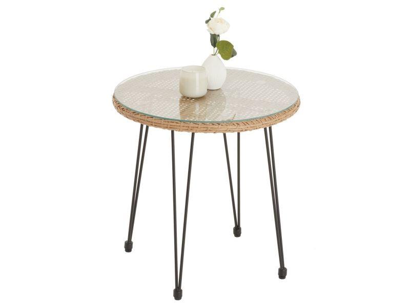 Table d'appoint pour jardin paramo, table basse d'extérieur, plateau rond en verre et imitation rotin, piètement en acier noir