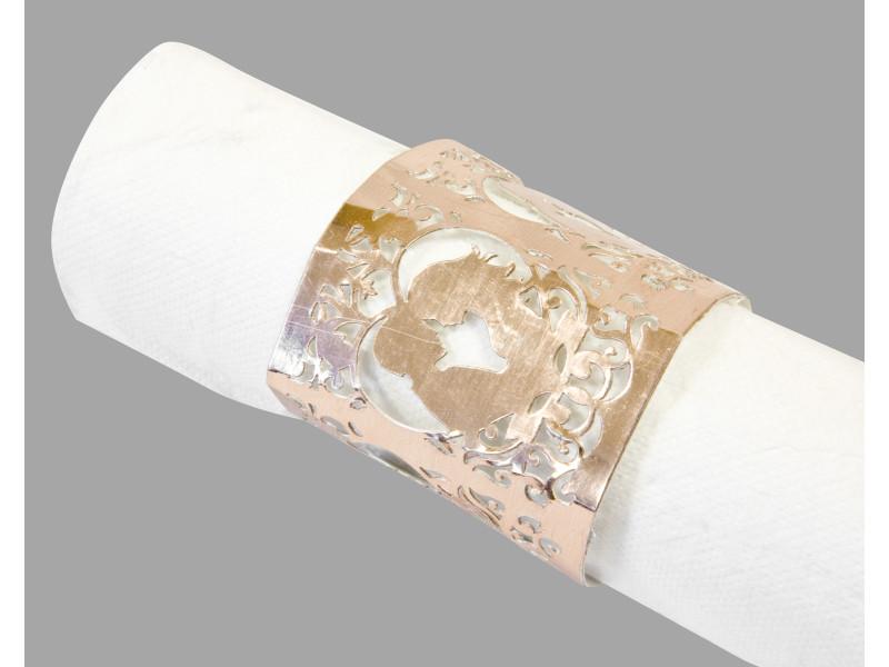 10 lots de 6 décors de serviette mariage rose gold - 17,5 x 5,7 cm VISIODIRECT