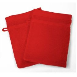 Lot de 2 gants de toilette 15 x 21 cm rouge