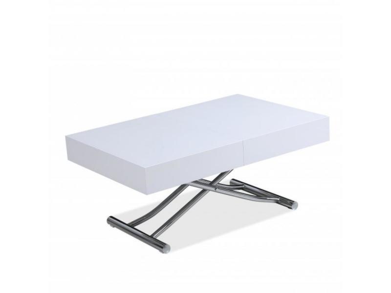 Table basse relevable extensible design albatros laqué blanc brillant et pied chromé 120/221 x 80 cm 20100991122