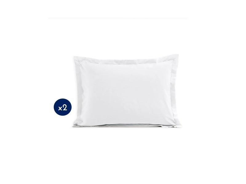Lot de 2 taies d'oreiller - rectangulaire 50x70 cm - coton - blanc 61348