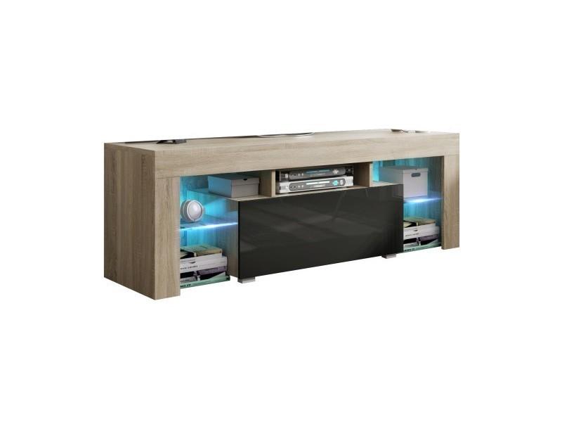 Meuble tv 130 cm sonoma et noir led rgb